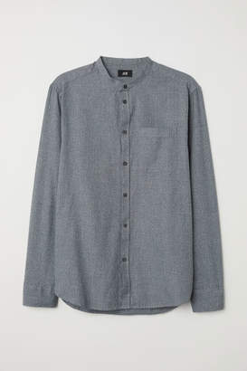 H&M Regular Fit Collarless Shirt - Gray