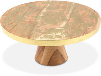 Thirstystone Wood Cake Stand with Gold-Tone Damask Design