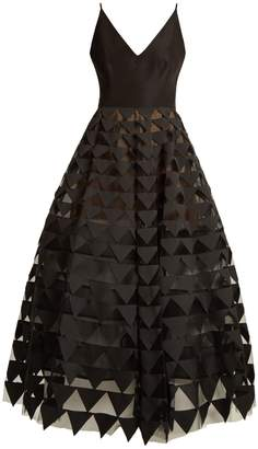 Oscar de la Renta Triangle appliqué V-neck silk-faille gown