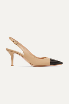 Gianvito Rossi Lucy 70 Two-tone Leather Slingback Pumps - Neutral