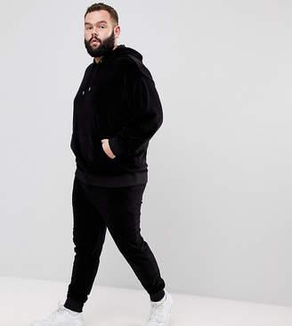 Asos PLUS Tracksuit Oversized Velour Hoodie/ Skinny Jogger In Black