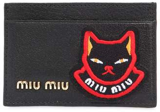 Miu Miu Cat Patch Leather Card Holder