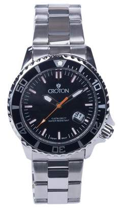 Croton Men's Stainless Bracelet Watch with Orange Second Hand & Coordinated Markers