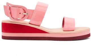 Ancient Greek Sandals Clio Rainbow Patent Wedge Sandals - Womens - Pink