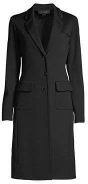 St. John Women's Milano Long-Line Wool-Blend Jacket - Caviar - Size 4