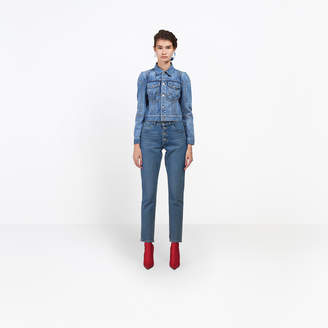 Balenciaga Short and fitted denim jacket with complex multi-darts construction underlining the breast
