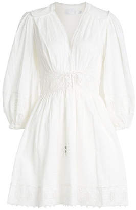 Zimmermann Iris Embroidered Corset Waist Cotton Dress