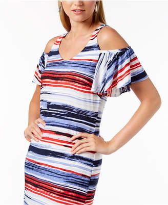 Nine West Striped Cold-Shoulder Maxi Dress