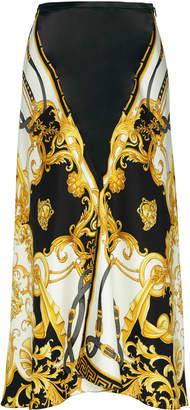 Versace Printed Silk-Satin Midi Skirt Size: 36