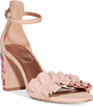 Kenneth Cole Reaction Women Rise Ruffle Block-Heel Sandals Women Shoes