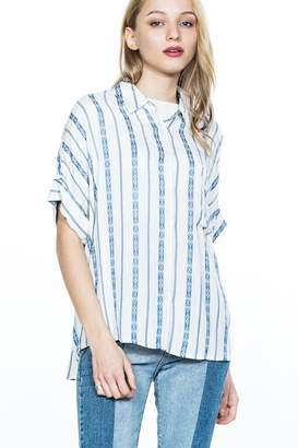 En Creme Blue Striped Top