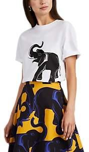 Lanvin Women's Embellished Elephant-Print Cotton T-Shirt - White