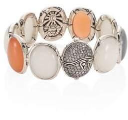 John Hardy Bamboo Diamond Pavé & Multicolor Moonstone Bracelet