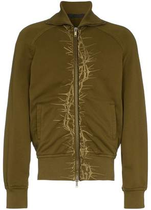 Haider Ackermann thorn embroidered cotton bomber jacket