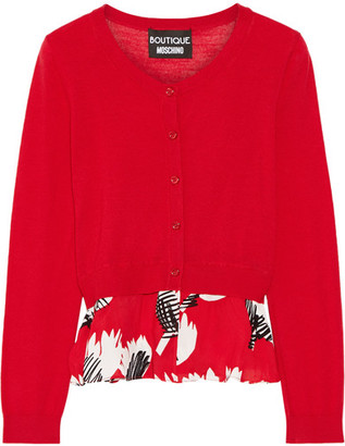 Boutique Moschino - Ruffle-trimmed Wool Cardigan - Red $625 thestylecure.com