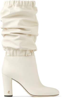 Jimmy Choo MAXYN 85 Latte Soft Nappa Leather Knee Boots