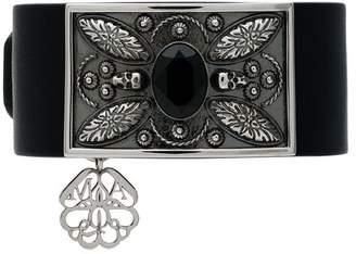 Alexander McQueen leather skull and crystal embellished bracelet