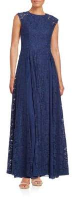 Aidan Mattox Pleated Lace Gown