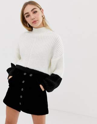 Miss Selfridge sweater in black and white