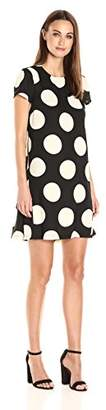 Donna Morgan Women's Short Sleve Polka Dot Crepe Trapeze $89 thestylecure.com