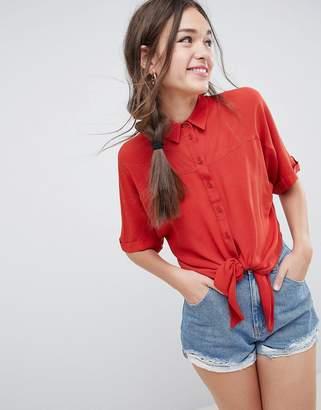 Asos Design DESIGN tie front shirt in crinkle