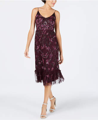 Adrianna Papell Embellished A-Line Midi Dress