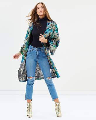Missguided Sequin Palm Print Kimono