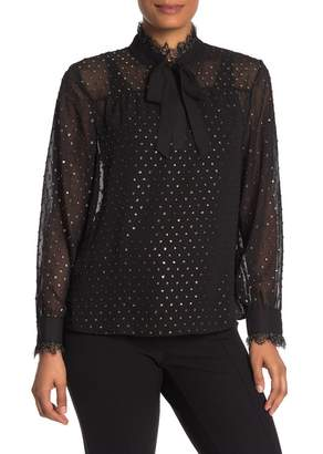 Ted Baker Semi-Sheer Long Sleeve Blouse