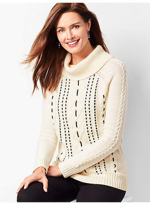 Talbots Velvet-Ribbon Cable Sweater