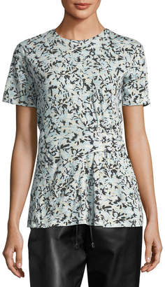 Proenza Schouler Side-Cinched Floral-Print T-Shirt