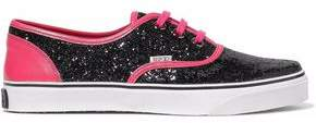 RED Valentino Two-Tone Glittered Leather Sneakers