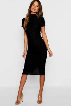 boohoo High Neck Tie Back Midi Dress