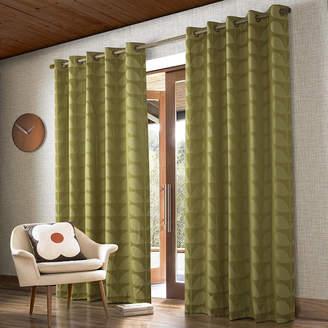 Orla Kiely Jacquard Stem Eyelet Curtains - Yellow/Olive - 229x183cm