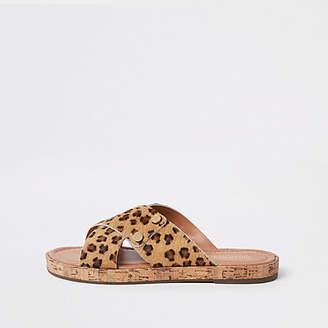 River Island Brown suede leopard cross strap sandals