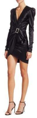 Alexandre Vauthier Stretch-Satin Deep V-Neck Dress