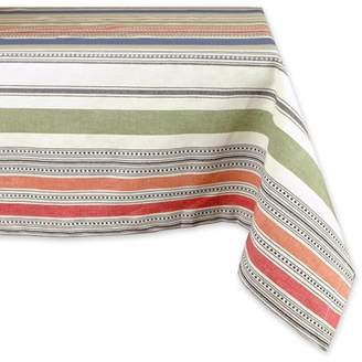 "Design Imports Modern Rectangle Warm Stripe Kitchen Tablecloth, 84"" x 60"", 100% Cotton, Multicolored"
