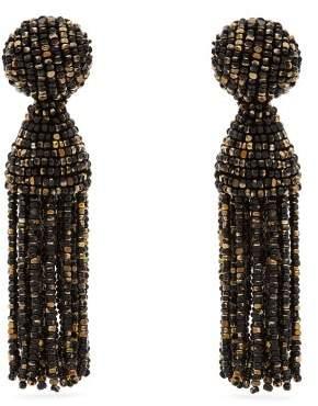 Oscar de la Renta Beaded Tassel Drop Earrings - Womens - Black