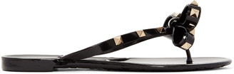 Valentino Black Rockstud Beach Sandals $295 thestylecure.com