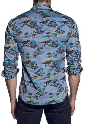 Jared Lang Men's Semi-Fitted Dinosaur Print Sport Shirt