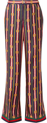Gucci Printed Silk-twill Wide-leg Pants - Navy