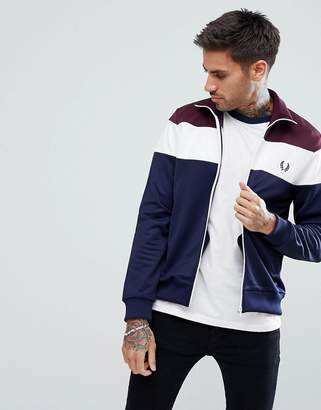 Fred Perry Sports Authentic Color Block Track Jacket In Navy