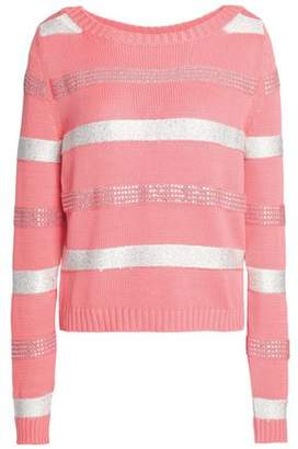Just Cavalli Embellished Striped Cotton-Blend Sweater