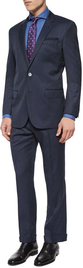 Hugo BossBoss Hugo Boss Slim Fit Striped Two-Piece Wool Suit, Navy