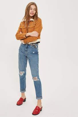Topshop MOTO Mid Blue Ripped Mom Jeans