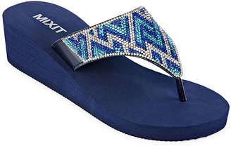 MIXIT Mixit Embellished Shield Wedge Flip-Flops