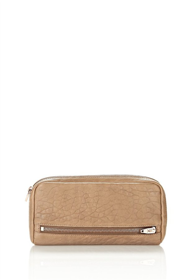 Alexander Wang Fumo Continental Wallet In Latte With Rose Gold