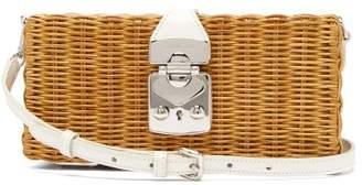 Miu Miu Leather Trimmed Woven Bag - Womens - White Multi