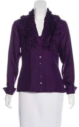 Thomas Pink Ruffle-Accent Button-Up Top