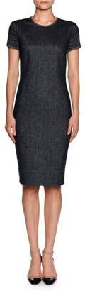 Giorgio Armani Denim Short-Sleeve Crewneck Sheath Dress, Indigo Blue