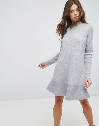 Asos Design Knitted Dress with Frill Hem